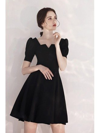 Retro French Style Black Party Dress Short With Sleeves