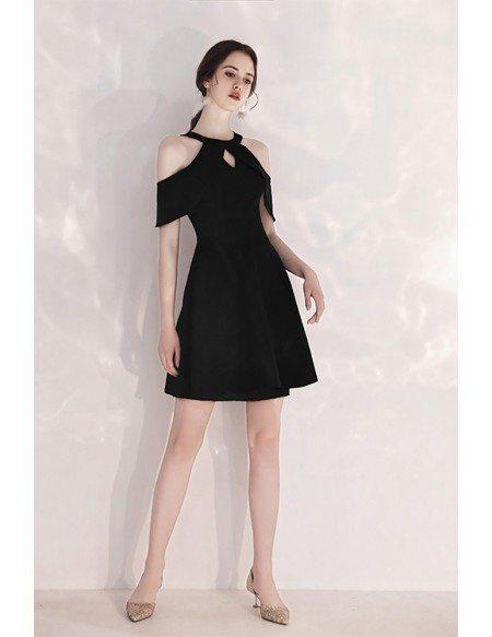 Little Black Short Halter Party Dress Aline Cold Shoulder