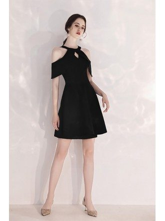Little Black Short Halter Party Dress Aline Cold Shoulder