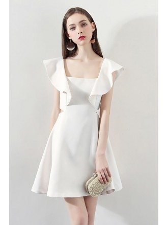 Fashion White Square Neck Aline Party Dress