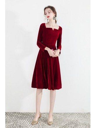 Vintage Burgundy Velvet Short Party Dress With Long Sleeves