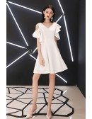 White Vneck Aline Party Dress With Cold Shoulder