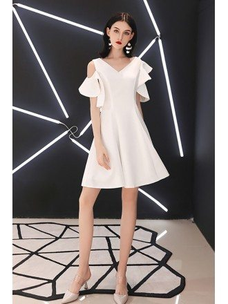 White Vneck Aline Party Dress With Cold Shoulder