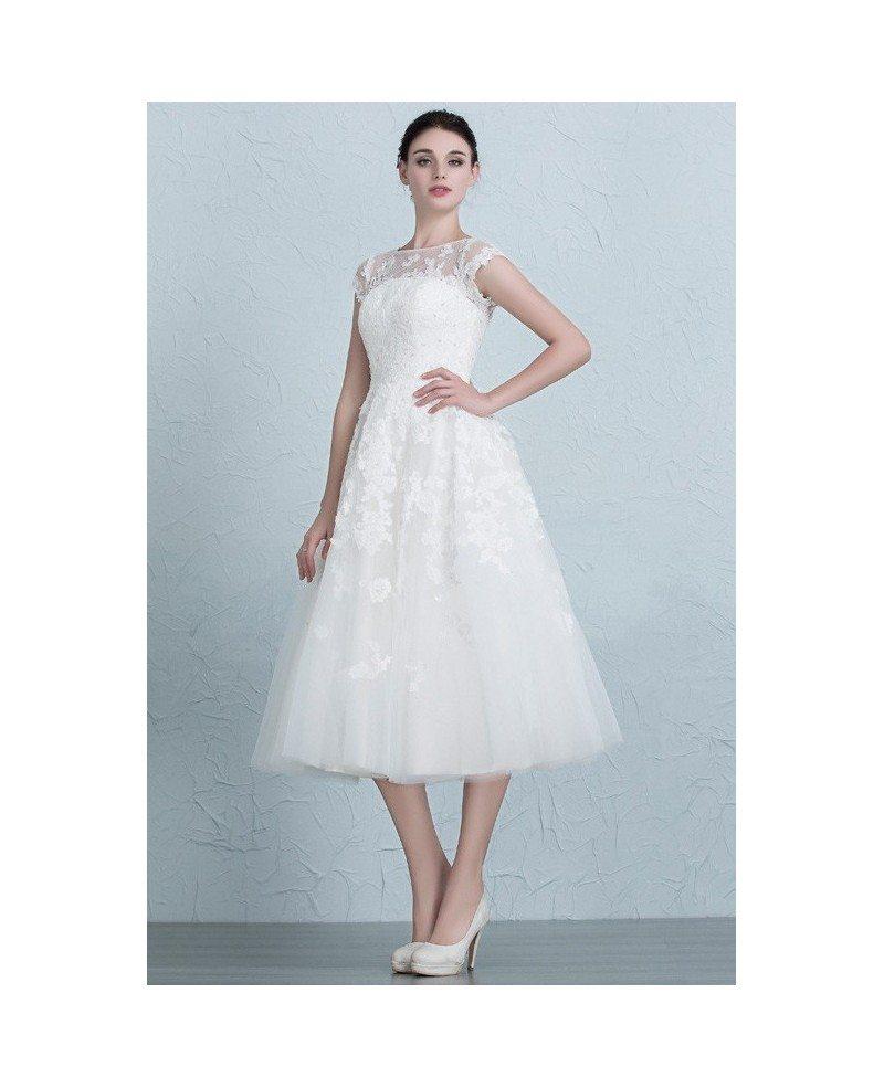 Vintage Tea Length Wedding Dresses Empire Waist Lace Tulle