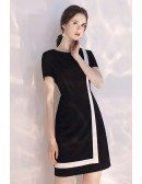 Black And White Color Blocks Semi Party Dress With Sleeves