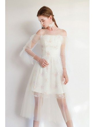 Fairy Short Tulle White Party Dress With Sleeves