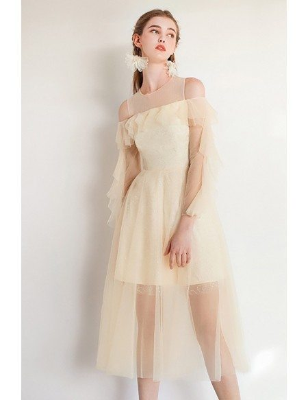 Fairy Short Tulle Champagne Party Dress With Sleeves