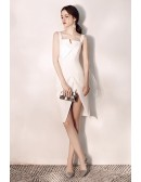 Unique Little White Fitted Hoco Dress With Slit Straps