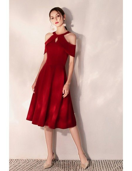 Elegant Short Halter Burgundy Party Dress Semi Formal
