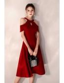 Elegant Short Halter Burgundy Party Dress Semi Formal