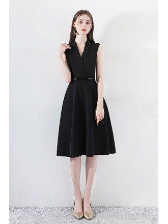 Black Short Aline Formal Dress Vneck With Sash