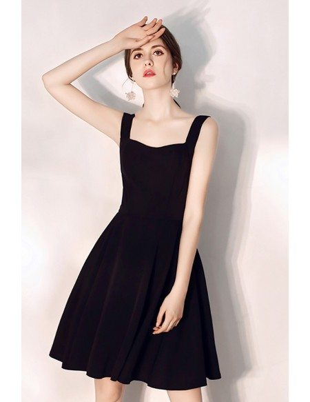 Simple Little Black Aline Party Dress With Straps