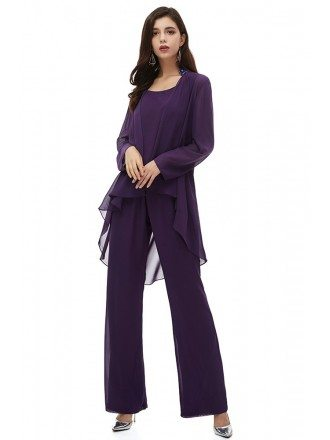 Comfy Purple Chiffon Long Trousers Wedding Guest Outfit With Blouse