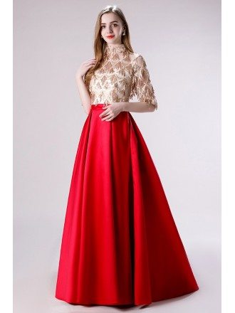 Red Satin A Line Sleeved Formal Dress With Modest Sparkly Top