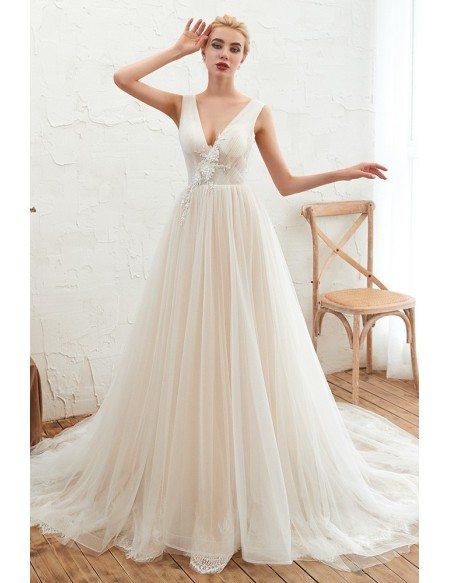 Elegant Backless V Neck Tulle Ballgown Wedding Dress For 2020