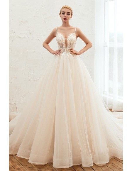 Princess Ivory Tulle Backless Ballroom Bridal Gown For 2020