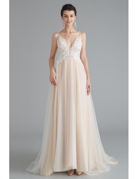 Spaghetti Straps A Line Lace Prom Dress With Open Back