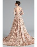 Sparkly Gold Sequin Lace Ball Gown Prom Dress With Long Sleeves