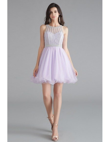 Lilac Cute Short Tulle Little Party Dress With Beading Top