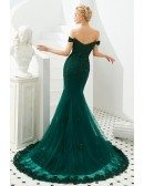 Mermaid Green Lace Beading Prom Formal Dress With Off Shoulder Strap