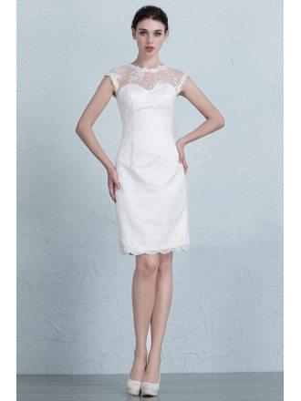 Modest Sheath Scoop Neck Short Lace Wedding Dress