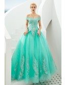 Off Shoulder Aqua Ball Gown Formal Prom Dress For Women