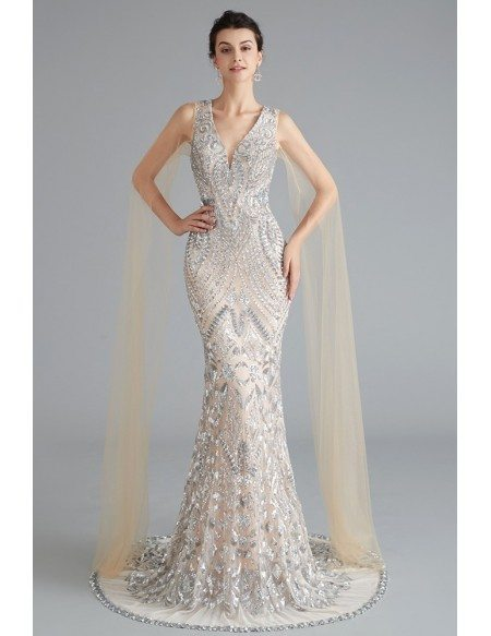 Sexy Deep V Mermaid Grey Party Dress With Sparkly Sequin