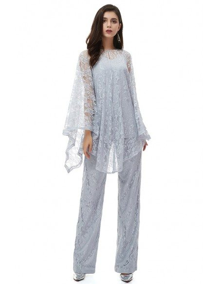 Classy Grey Lace Wedding Guest Formal Dress Outfit Trousers With Lace Cape