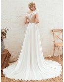 2020 Flowy Chiffon Long Beach Wedding Dress With Slit Front