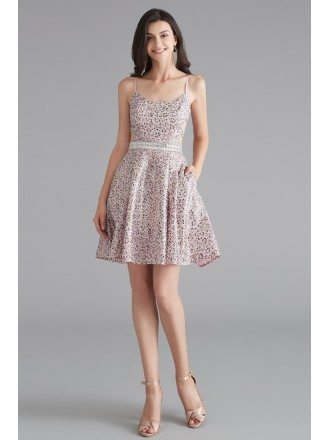 Sparkly Short Pink Homecoming Prom Dress With Open Back