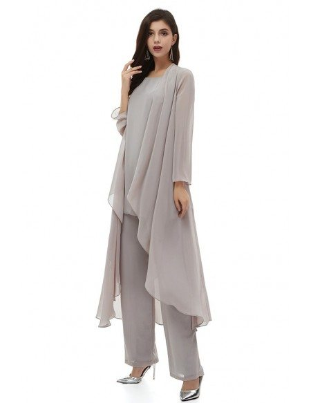 Elegant Grey Chiffon Wedding Guest Dress Outfit Trousers With Jacket