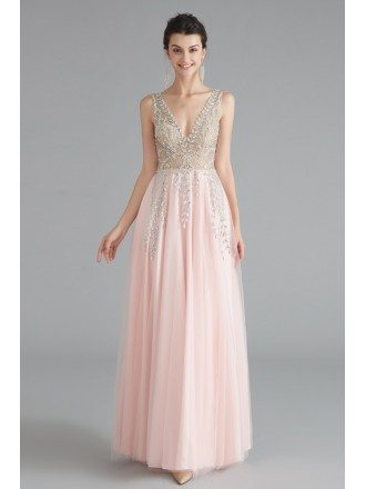 Beautiful Pink Beaded Formal Long Prom Dress With Double V Neck