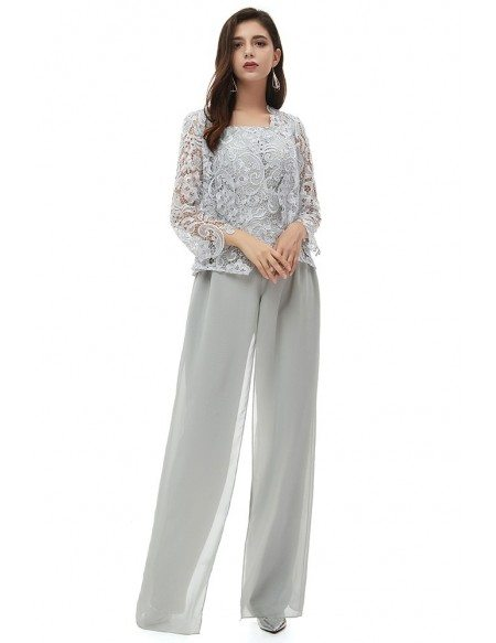 Elegant Grey Lace Formal Wedding Guest Outfit Trousers With Lace Jacket