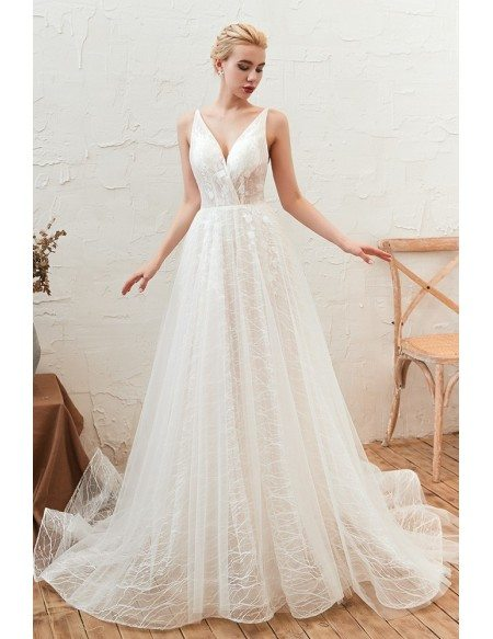 Sleeveless Simple Lace Tulle Summer Wedding Dress With With Straps Low Back