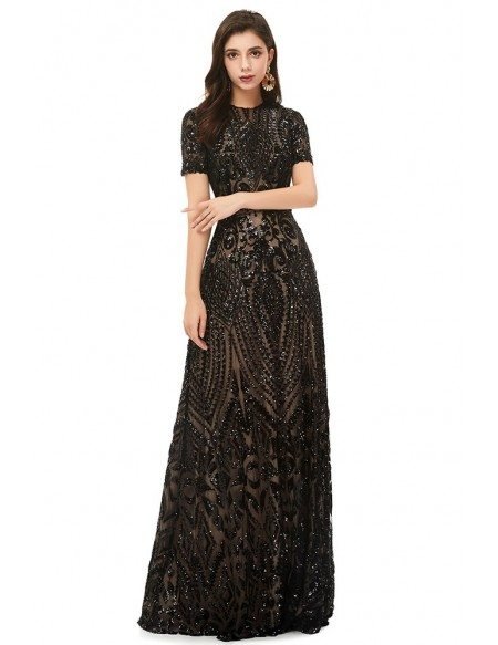 Modest Formal Long Black Sparkly Sequins Prom Dress With Short Sleeves
