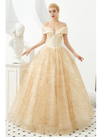 Off Shoulder Ball Room Gold Formal Dress With Sparkly Sequins