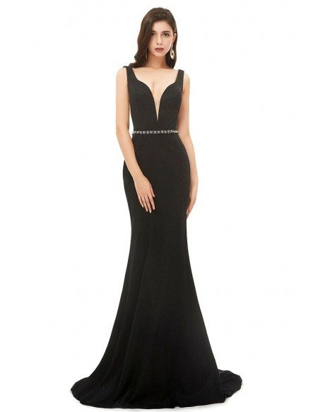 Simple Fitted Mermaid Long Black Evening Prom Dress With Deep Vneck