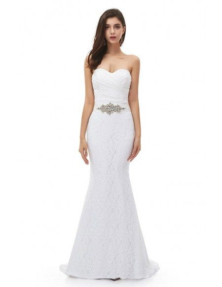 White Lace Mermaid Wedding Dress Pleated Sweetheart With Jeweled Sash