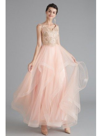 Sleeveless Long Pink Tulle Prom Dress With Lace Top