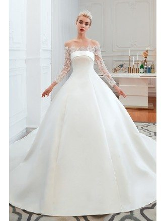 Big Ballroom Simple Satin Wedding Gown With Off Shoulder Lace Sleeves