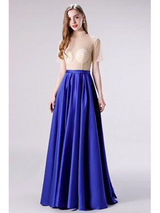 Modest High Neck Royal Blue Formal Dress With Short Sleeves