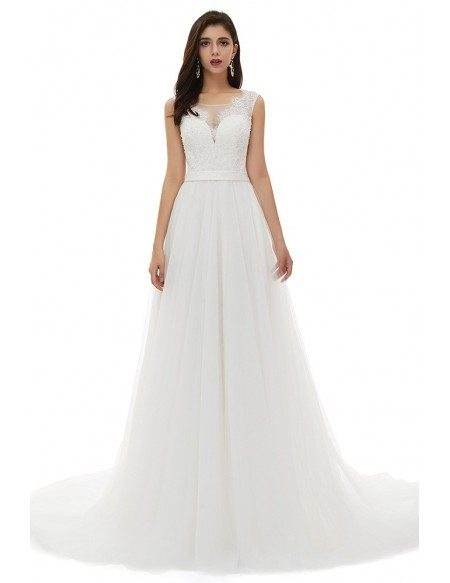Ivory Beaded Lace Slim Aline Simple Wedding Dress With Long Train