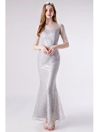 Pretty Mermaid Shiny Sequined Grey Party Dress For Girls