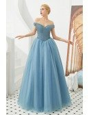 Off Shoulder Tulle Blue Party Dress With Beading Top