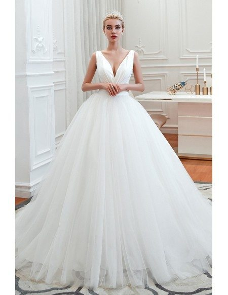 Princess Simple Strapless Tulle Ball Room Wedding Dress With Sweetheart