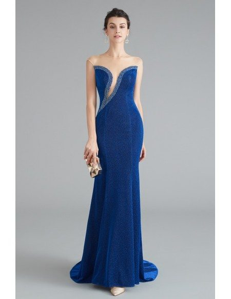 Sexy Mermaid Blue Evening Dress With Sweep Train