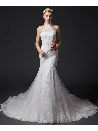 Romantic Mermaid Halter Chapel Train Tulle Wedding Dress With Appliques Lace