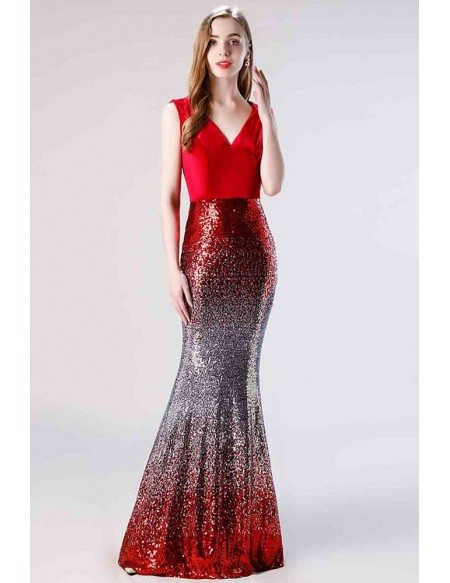 Mermaid Tight Shiny V Neck Burgundy Prom Dress