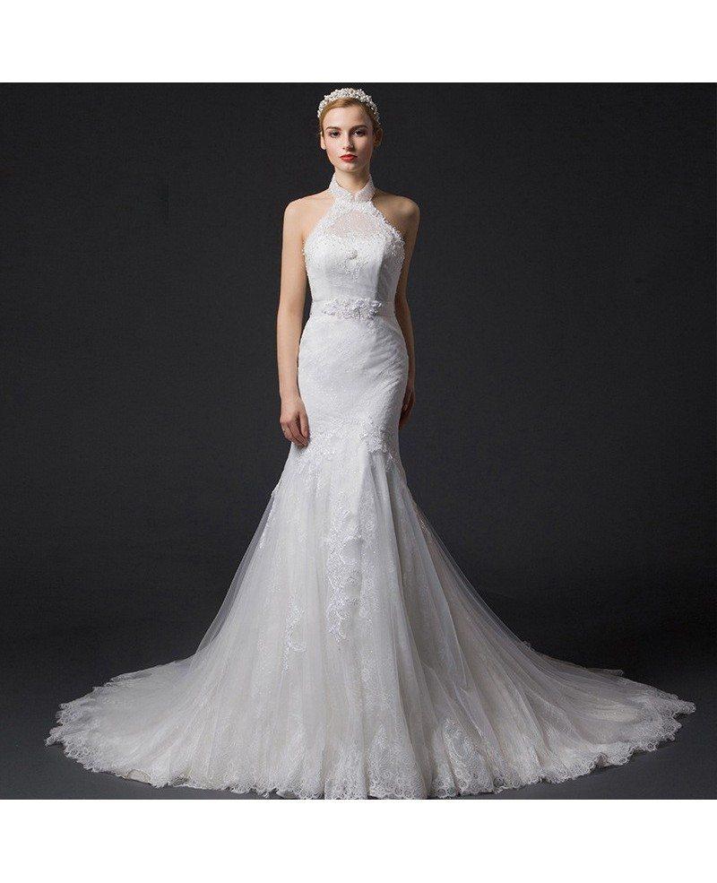 Lace Halter Wedding Gown: Romantic Mermaid Halter Chapel Train Tulle Wedding Dress