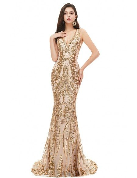 Luxe Champagne Gold Sparkly Mermaid Prom Dress Fitted Sexy Vneck